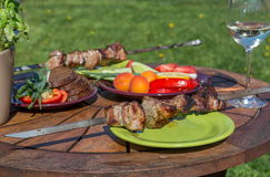 Assorted delicious grilled meat with vegetable on picnic table for family bbq party Royalty Free Stock Photo