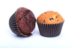 Assorted with Delicious homemade muffin, cupcake with raisins, nuts and chocolate isolated on white background. stock images