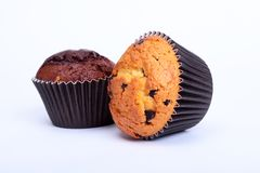 Assorted with Delicious homemade muffin, cupcake with raisins, nuts and chocolate isolated on white background. stock image