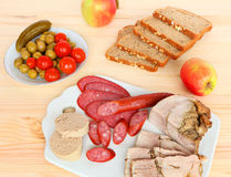 Assorted delicious meat snacks Stock Image