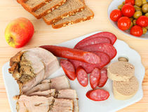 Assorted delicious meat snacks Royalty Free Stock Images