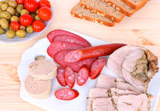 Assorted delicious meat snacks Stock Photo