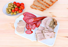 Assorted delicious meat snacks Royalty Free Stock Photography