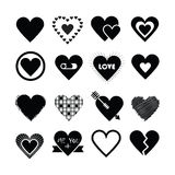 Assorted designs of black silhouette hearts icons set Stock Photos