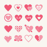 Assorted designs of pink hearts icons set Stock Photo