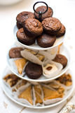 Assorted Desserts. Selection of baked desserts including brownies, baklava, cookies stock photography