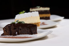 Assorted desserts in a bakery or restaurant Stock Photos