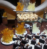 Assorted desserts display Royalty Free Stock Photo
