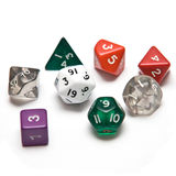 Assorted Dice (isolated). Assorted dice isolated on a white background. 4, 6, 8, 10, 12, 20-sided Royalty Free Stock Image
