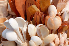 Assorted different kitchen. Wooden utensils cutlery background Royalty Free Stock Photography