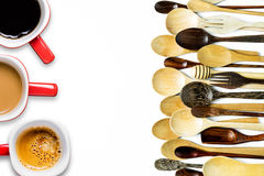 Assorted different kitchen wooden utensils cutlery, cup coffee Royalty Free Stock Photography