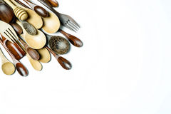 Assorted different kitchen wooden utensils cutlery Royalty Free Stock Photo