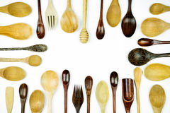 Assorted different kitchen wooden utensils cutlery Stock Photo