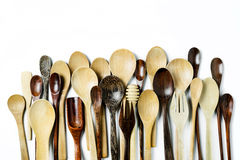 Assorted different kitchen wooden utensils cutlery Royalty Free Stock Photos