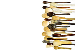 Assorted different kitchen wooden utensils cutlery Stock Photography