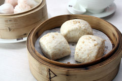 Assorted Dim Sum - Steamed Wholemeal Bun. In Bamboo Basket Stock Image