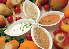 Assorted dips in bowls Royalty Free Stock Image