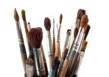 Assorted dirty old painting brushes Stock Photos