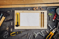 Assorted Do It Yourself Tools and Notebook Stock Images
