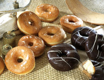Assorted donut with handcrafted decoration stock image