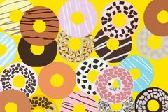 Assorted donuts with color glaze Stock Photography
