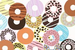 Assorted donuts with colored glaze Royalty Free Stock Photo