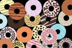 Assorted donuts with colored glaze Stock Photography