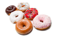 Assorted Donuts on white Royalty Free Stock Photos