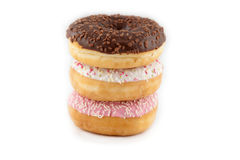 Assorted donuts on white background Stock Photo