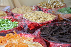Assorted dried fruit baskets for sale in the market Royalty Free Stock Image