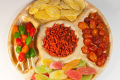 Assorted dried fruit on a platter for a party Royalty Free Stock Images