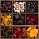 Assorted dried fruit in a printers box Royalty Free Stock Image