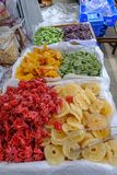 Assorted dried fruit on sale on a market stall stock photos