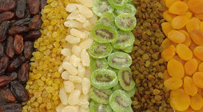 ASSORTED DRIED FRUITS. Six different types of dried fruits Royalty Free Stock Photo