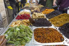 Assorted dried fruits for sale in the market in Jerusalem, Israel. Raisins, date, cranberries,  ginger and apricot Stock Photo