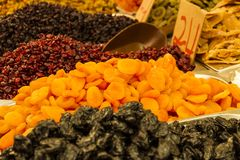 Assorted dried fruits for sale in the market in Jerusalem, Israel. Raisins, date, cranberries,  ginger and apricot Stock Photography