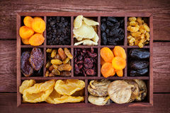 Assorted  dried fruits in wooden box Royalty Free Stock Image