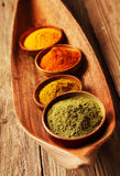 Assorted dried ground spices Stock Photos