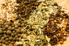 Assorted dried herbs and spices Royalty Free Stock Photos