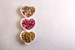 Assorted dried petals and herbs used for tea Stock Photo