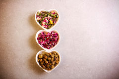 Assorted dried petals and herbs used for tea Stock Photography