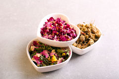 Assorted dried petals and herbs used for tea. Perfumes, bath and cosmetics Royalty Free Stock Photos
