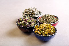Assorted dried petals and herbs used for tea Royalty Free Stock Photo