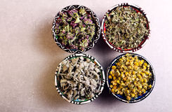 Assorted dried petals and herbs used for tea Royalty Free Stock Image