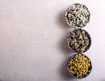 Assorted dried petals and herbs used for tea, perfumes, bath Stock Images