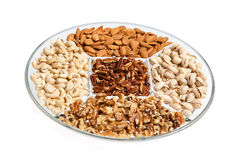 Assorted Dry Fruits and Nuts in a Tray Stock Photography