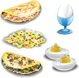 Assorted egg dishes. Illustration of five different egg dishes including a ham and cheese omelet, spanish eggs, a vegetarian omelet, deviled eggs and a poached Royalty Free Stock Image
