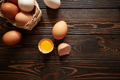 Assorted eggs composition. On wood background Stock Photo