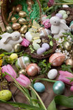 Assorted eggs and flowers for Easter Royalty Free Stock Image