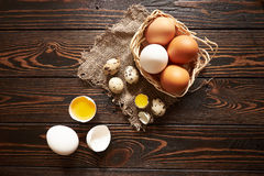 Assorted eggs rural composition Royalty Free Stock Photo